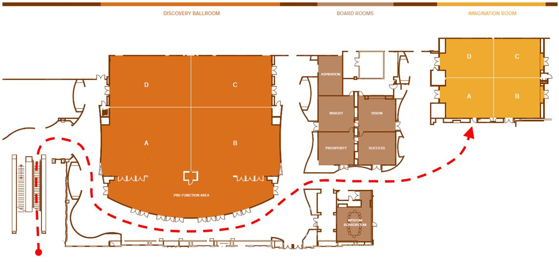 To get to the ballroom, go up the escalators and around the hall (as shown in red).